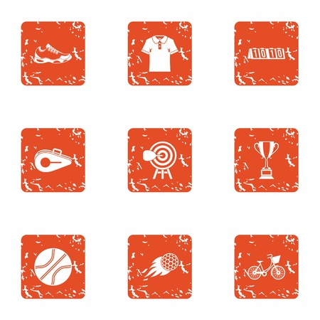 Sport weekend icons set, grunge style