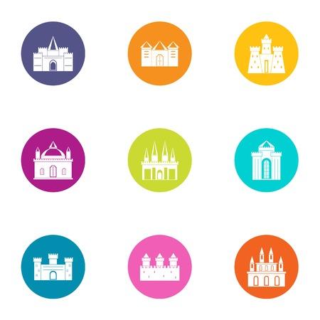 Sanctuary icons set, flat style