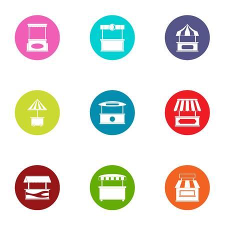 Canopy icons set, flat style Banco de Imagens