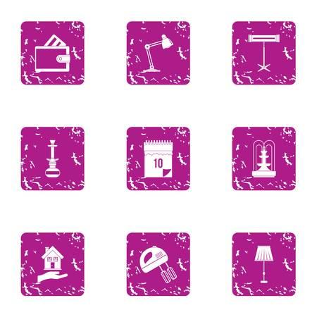 Workstation icons set, grunge style 写真素材
