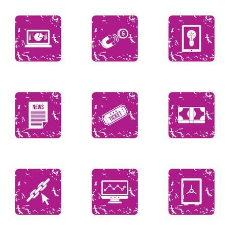 Newsroom icons set, grunge style