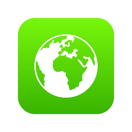 Earth globe icon digital green