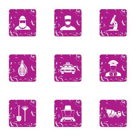 Formulation icons set, grunge style