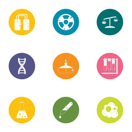 Chemical experiment icons set, flat style Archivio Fotografico - 114536429