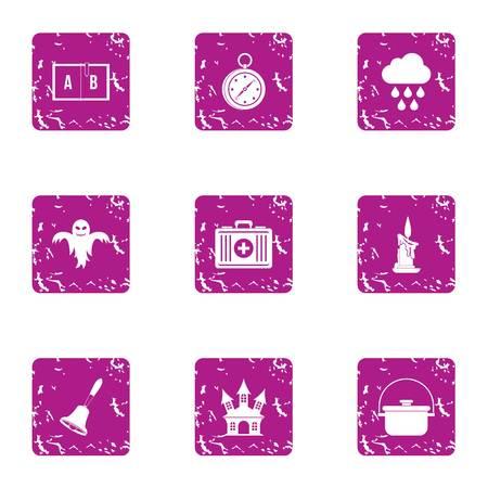 Frightened icons set, grunge style
