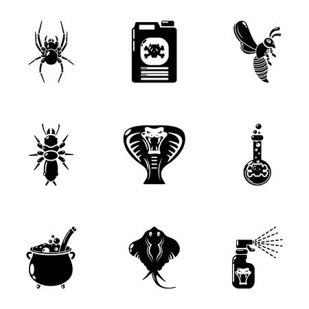 Toxic chemical icons set, simple style Stock Photo