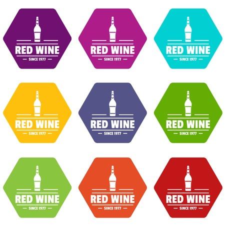 Glass wine icons set 9