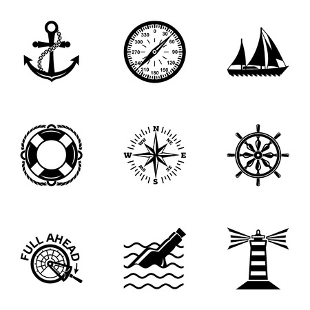 Waterway icons set, simple style Stockfoto