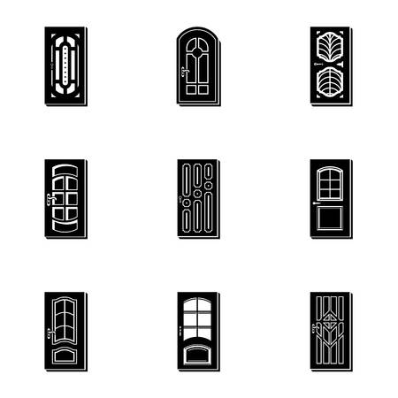 Doorway icons set, simple style