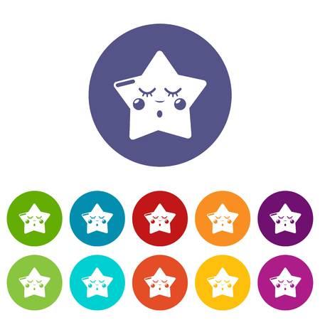 Sleeping star icons set color
