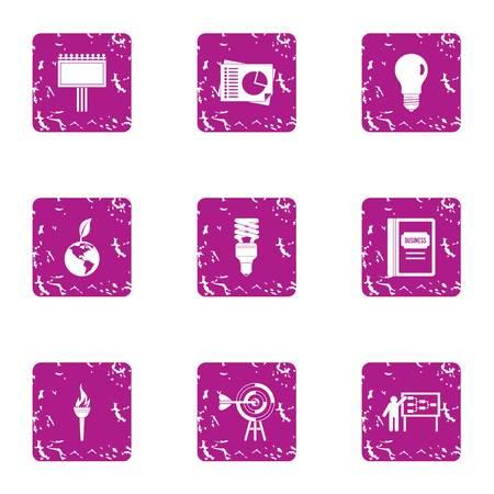 Energy development icons set, grunge style