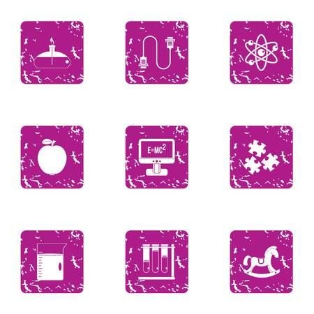 Arrangement icons set, grunge style