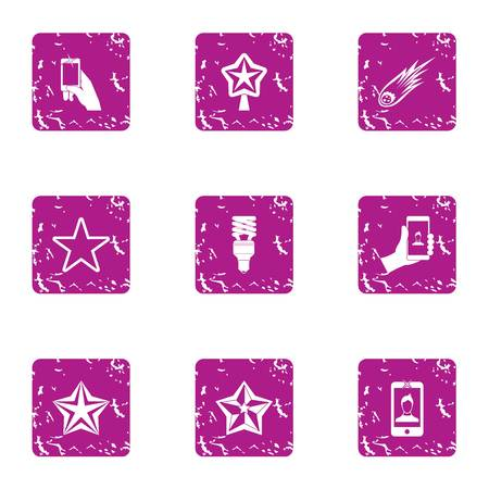 Selfie photo icons set, grunge style Фото со стока
