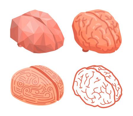 Brain thinking concept background, isometric style