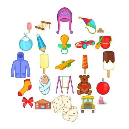 Small children icons set, cartoon style