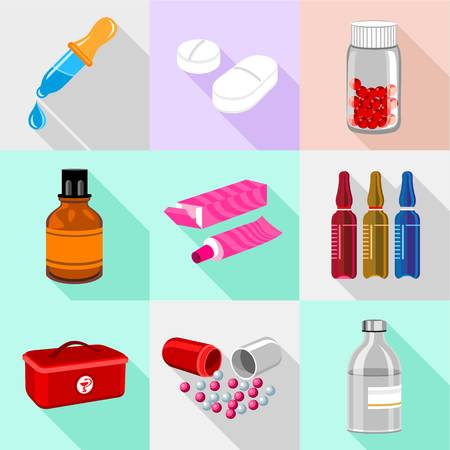 Medical base icons set, cartoon style