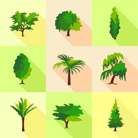 Forest grass icons set, cartoon style