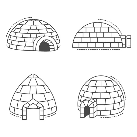 Igloo eskimo icon set, outline style