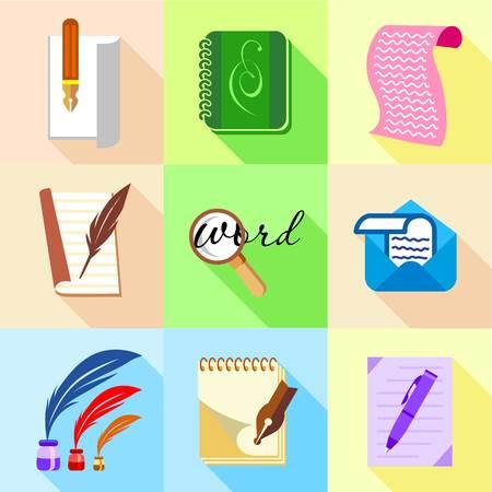 Letter icons set, cartoon style Banco de Imagens
