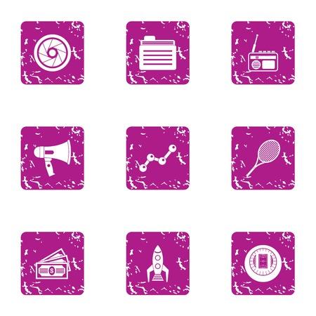 Rocket money icons set, grunge style Stock fotó