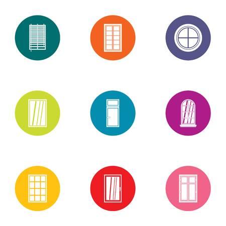 Pane icons set, flat style