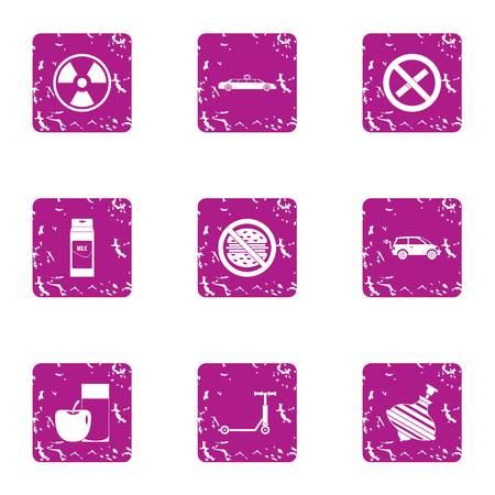 Threat to life icons set, grunge style