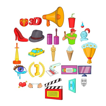 Celluloid icons set, cartoon style