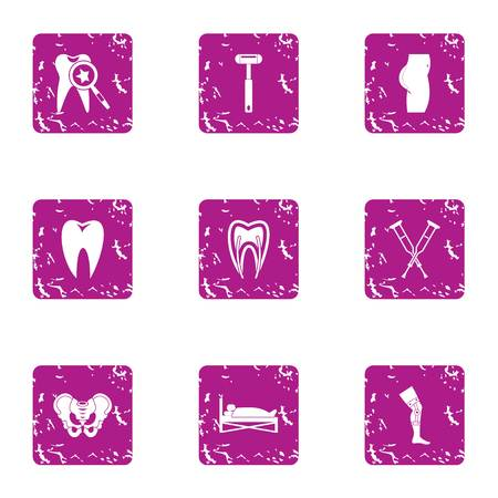 Osteal icons set, grunge style Stock Photo