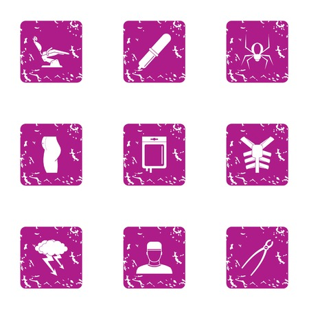 Serviceability icons set, grunge style