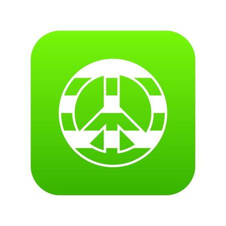 LGBT peace sign icon digital green
