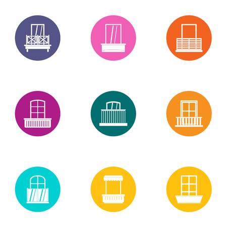Subwindow icons set, flat style