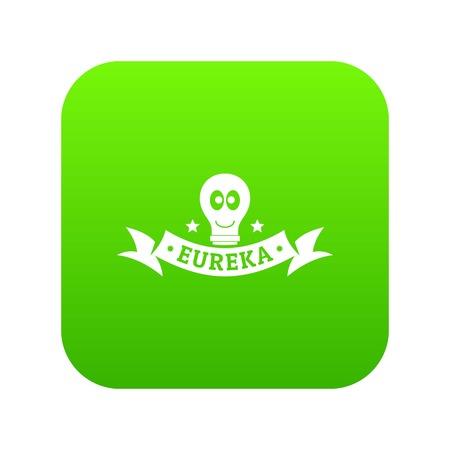 Eureka icon green Stock Photo