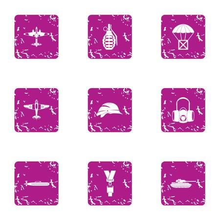 Landing icons set, grunge style Stock Photo