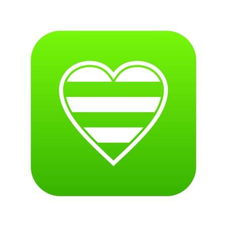 Heart LGBT icon digital green