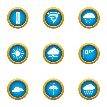 Atmospheric condition icons set, flat style