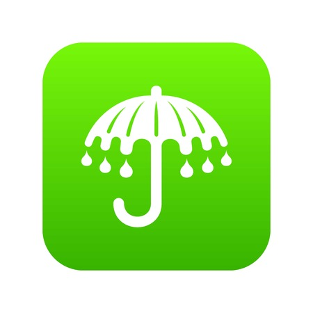 Wet umbrella icon green