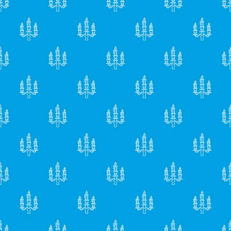 Candelabra candle pattern seamless blue
