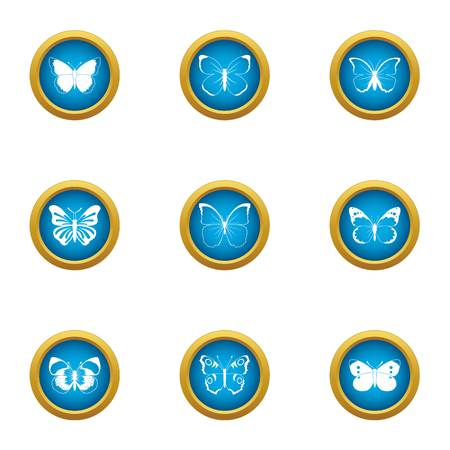 Winged insect icons set, flat style