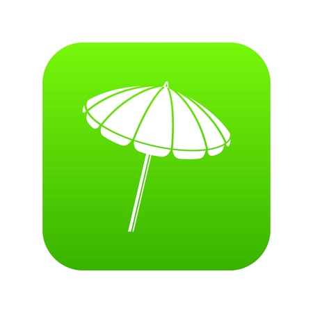 Beach umbrella icon green
