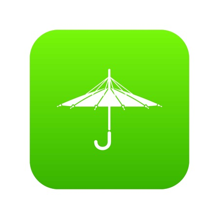 Inside out umbrella icon green Stock Photo