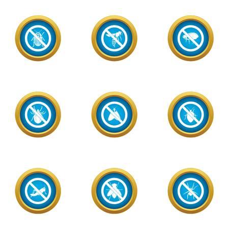 Bedbug icons set, flat style