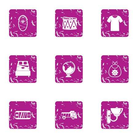 Plaything for infantile icons set, grunge style