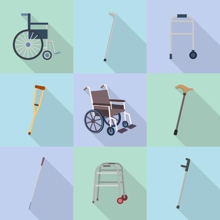 Crutches icon set, flat style Stockfoto