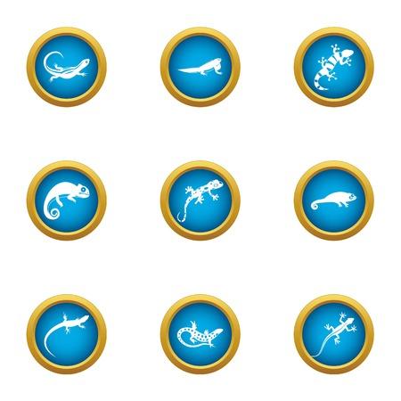 Viviparous lizard icons set, flat style Stock Photo