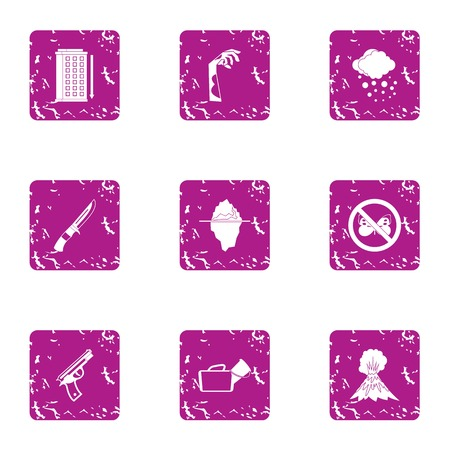 Harassment icons set, grunge style Stock Photo