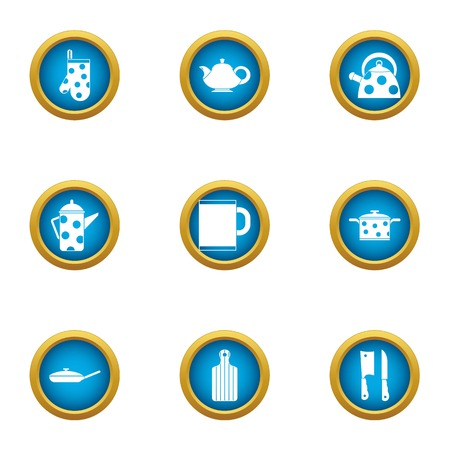Tea cupping icons set, flat style Stock Photo