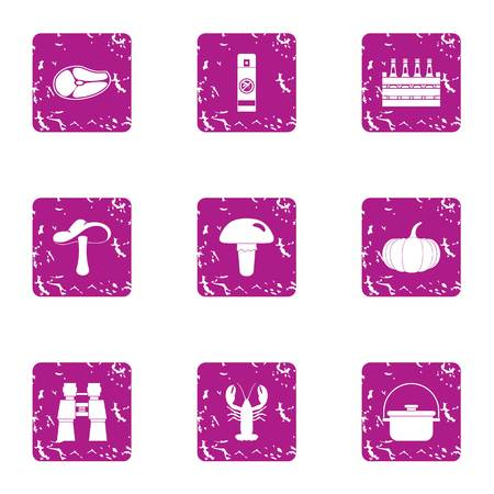 Meat boiling icons set, grunge style