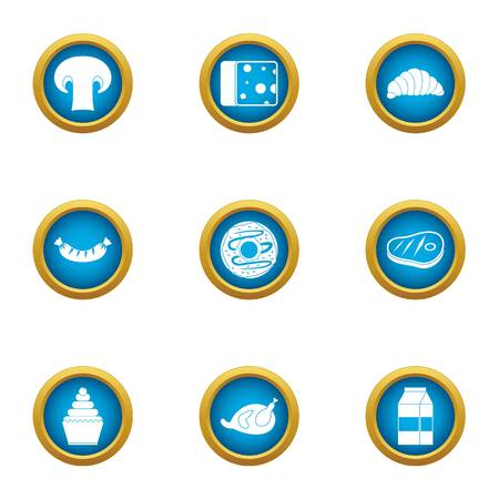 Late brunch icons set, flat style