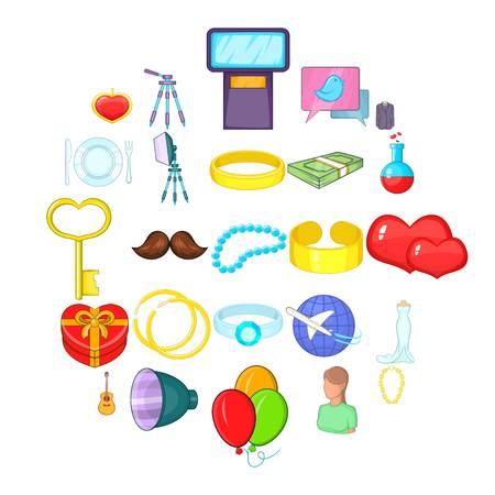 Love icons set, cartoon style