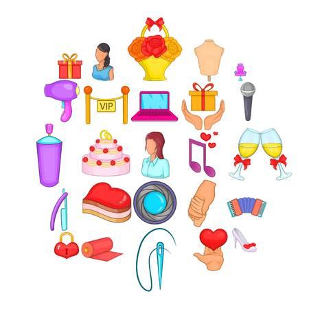 Nuptial icons set, cartoon style